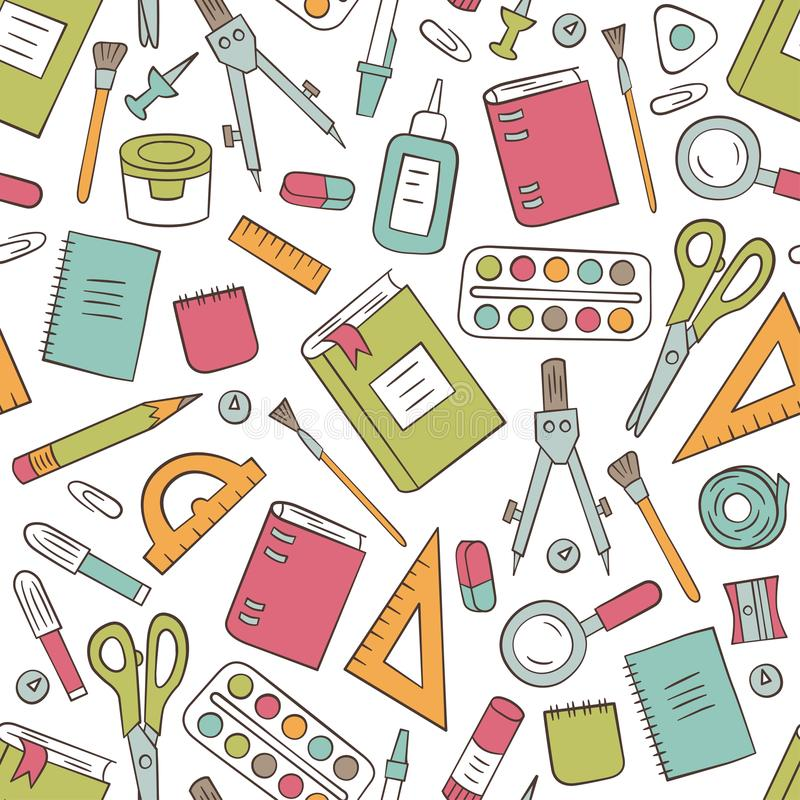 Канцелярские принадлежности школы и офиса Безшовная картина в стиле doodle и шаржа цвет бесплатная иллюстрация