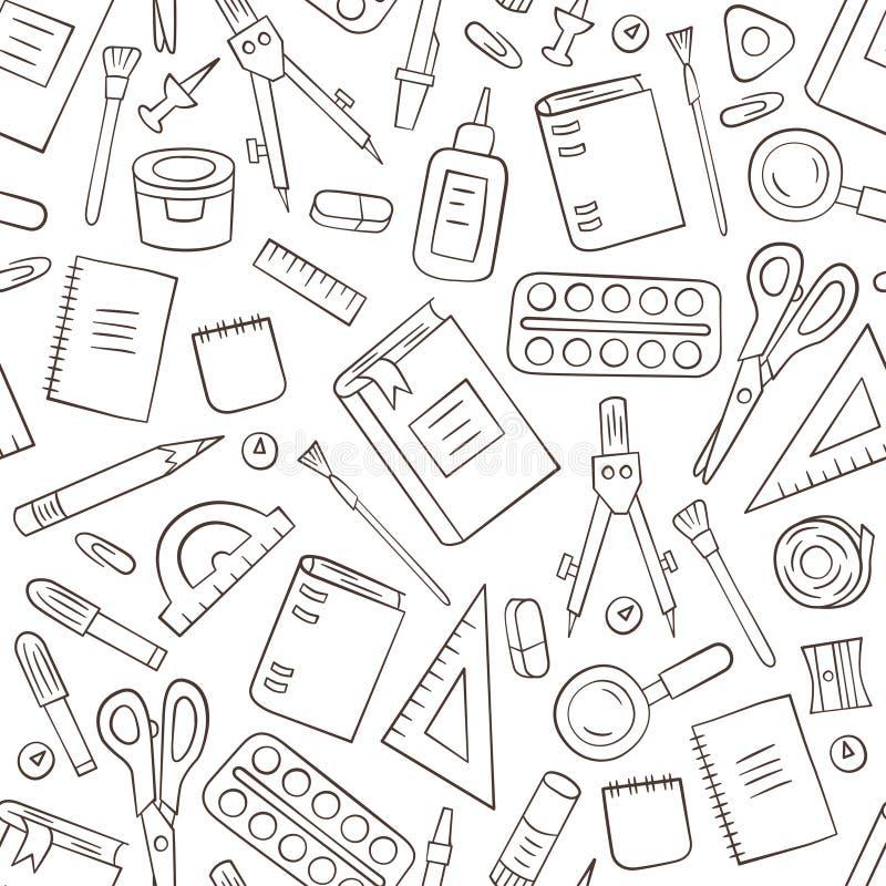 Канцелярские принадлежности школы и офиса Безшовная картина в стиле doodle и шаржа план иллюстрация вектора