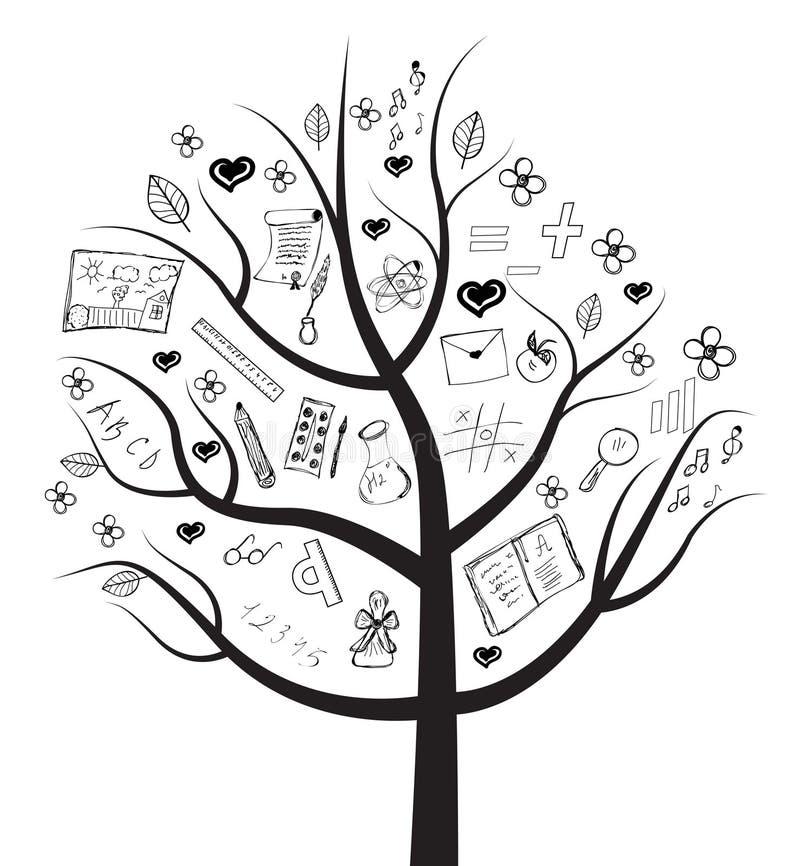 Канцелярские принадлежности дерева иллюстрация вектора