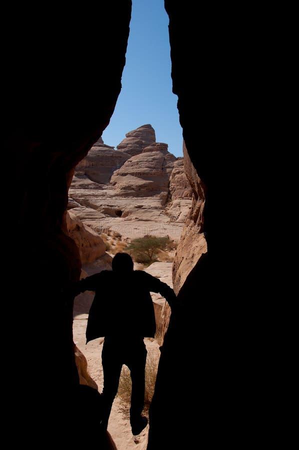 Каньон в археологических раскопках Madain Saleh Саудовской Аравии стоковая фотография rf