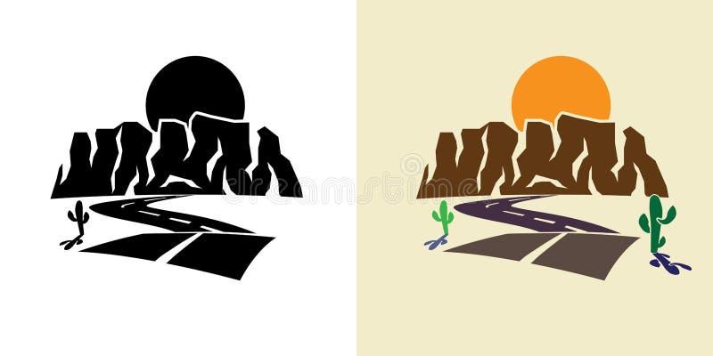 Каньон и заход солнца иллюстрация штока