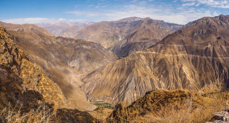 Каньон Colca от Cabanaconde в Перу стоковое фото
