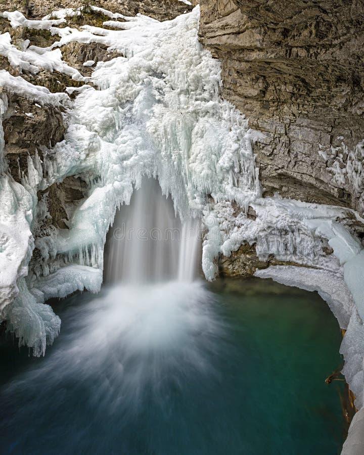 Каньон Johnston падает в национальный парк Альберту Канаду Banff в зиме стоковые изображения