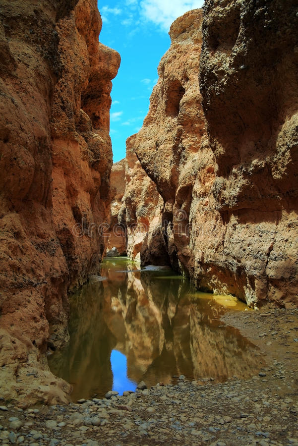 Каньон Sesriem реки Tsauchab стоковое изображение