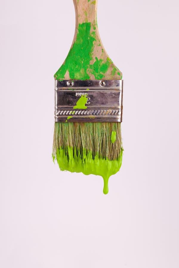 Капание влажной краски светло-зеленое от paintbrush художников стоковая фотография rf