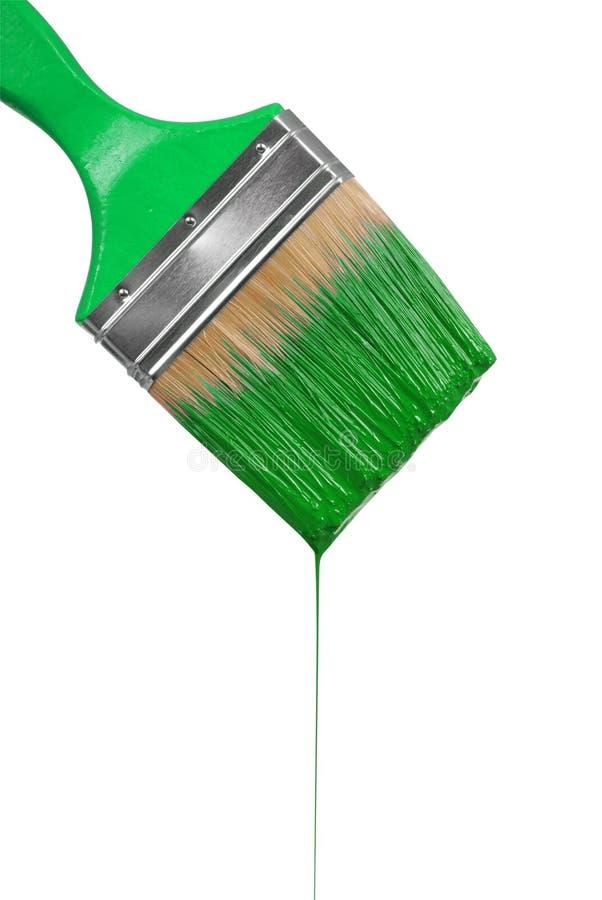 Капание paintbrush с зеленой краской стоковое фото