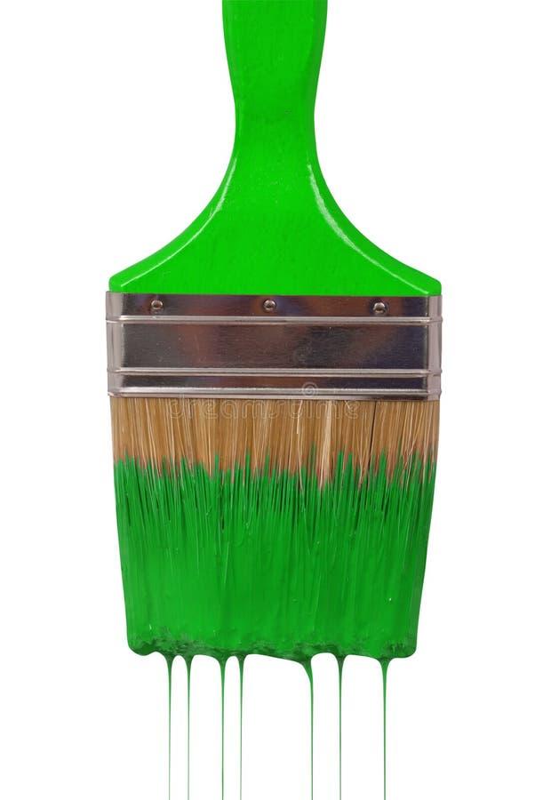 Капание paintbrush с зеленой краской стоковая фотография rf