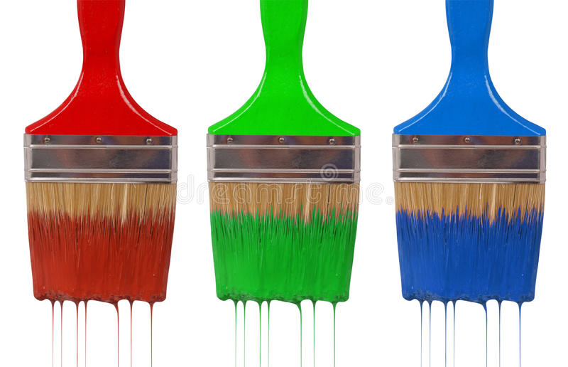 Капание paintbrush с краской rgb стоковое фото