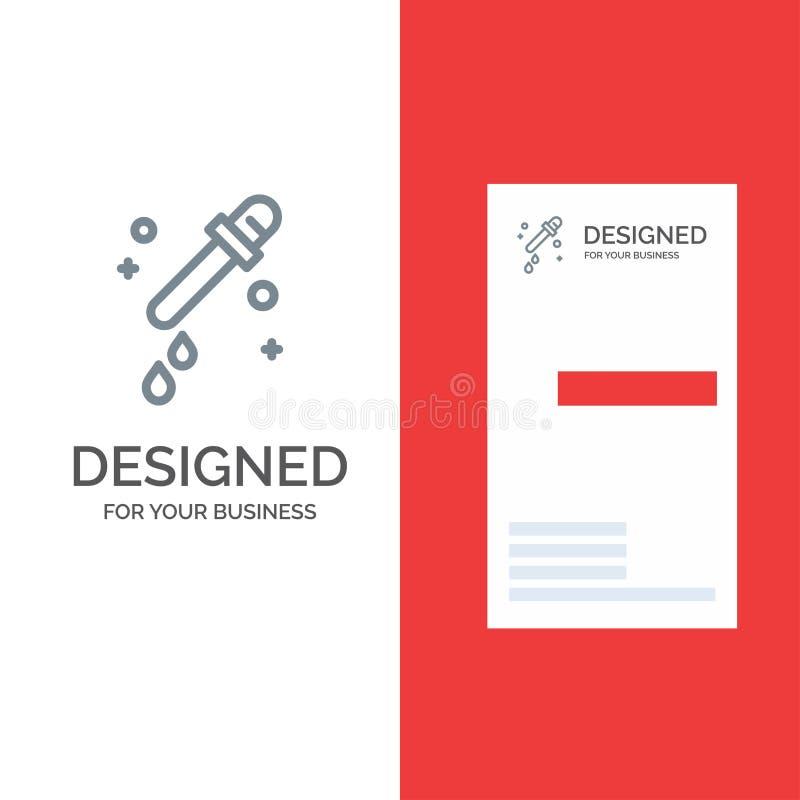 Капельница, пипетка, дизайн логотипа науки серые и шаблон визитной карточки иллюстрация вектора