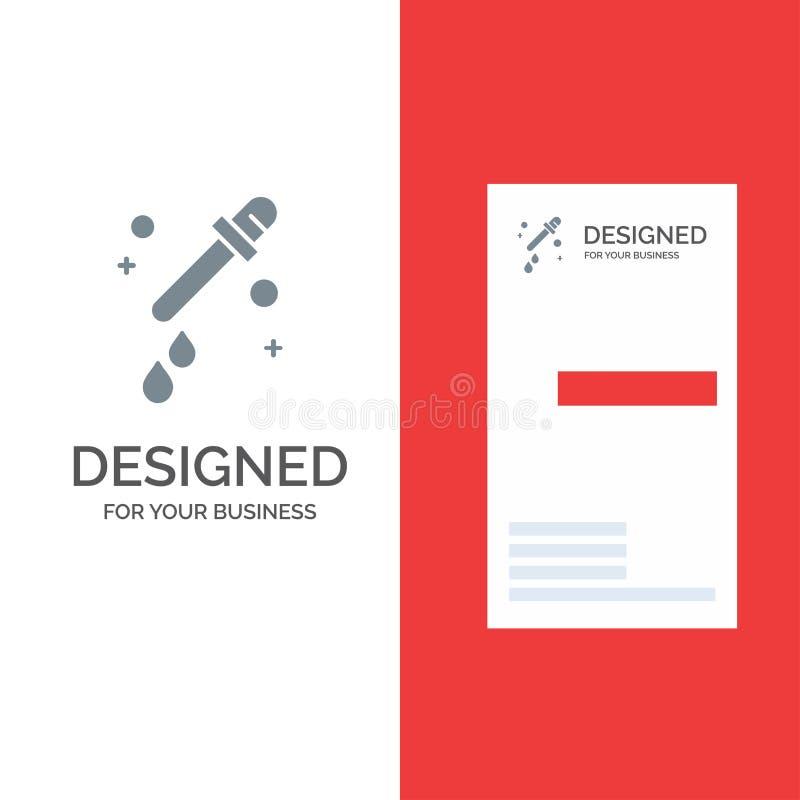 Капельница, пипетка, дизайн логотипа науки серые и шаблон визитной карточки бесплатная иллюстрация