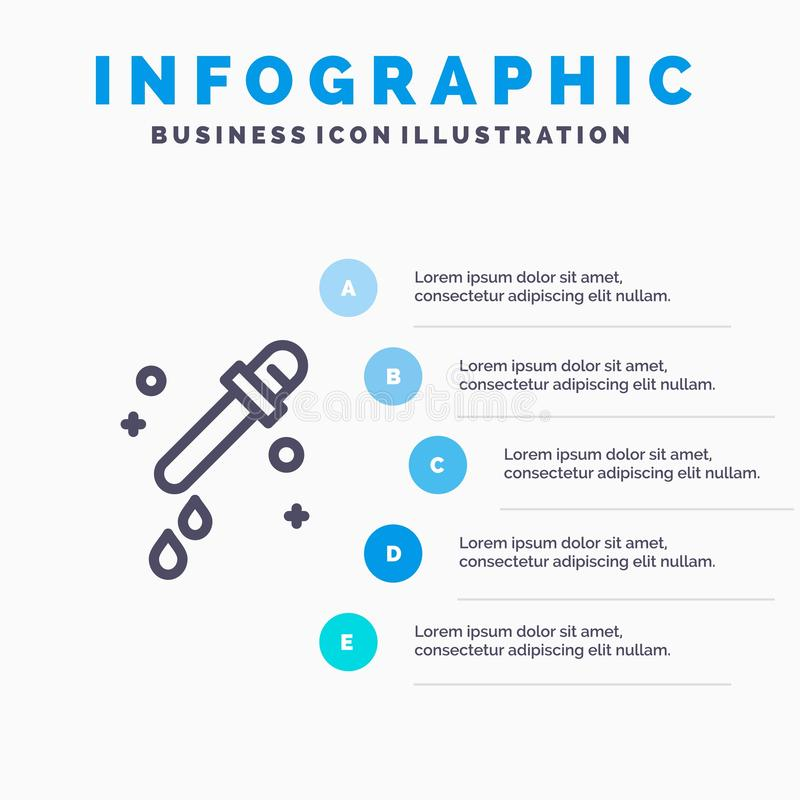 Капельница, пипетка, линия значок науки с предпосылкой infographics представления 5 шагов бесплатная иллюстрация