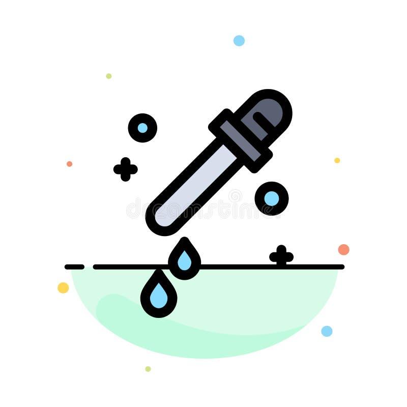 Капельница, пипетка, шаблон значка цвета конспекта науки плоский иллюстрация штока
