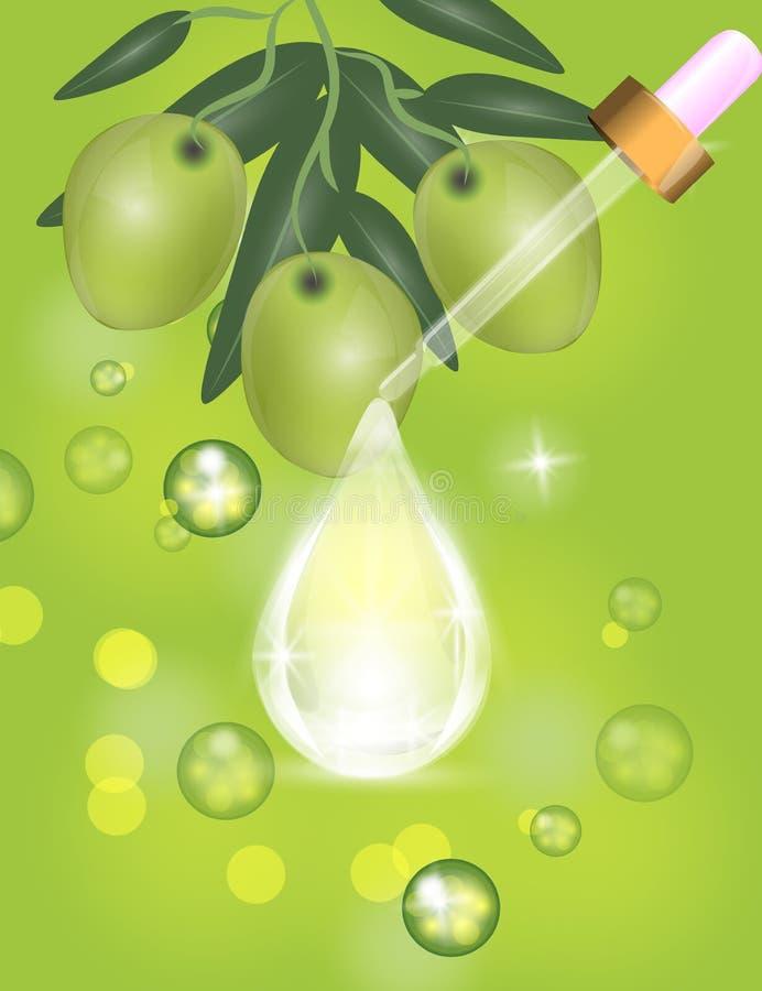 Капельница с падением сыворотки коллагена на сверкнать, светит зеленой предпосылке иллюстрация вектора