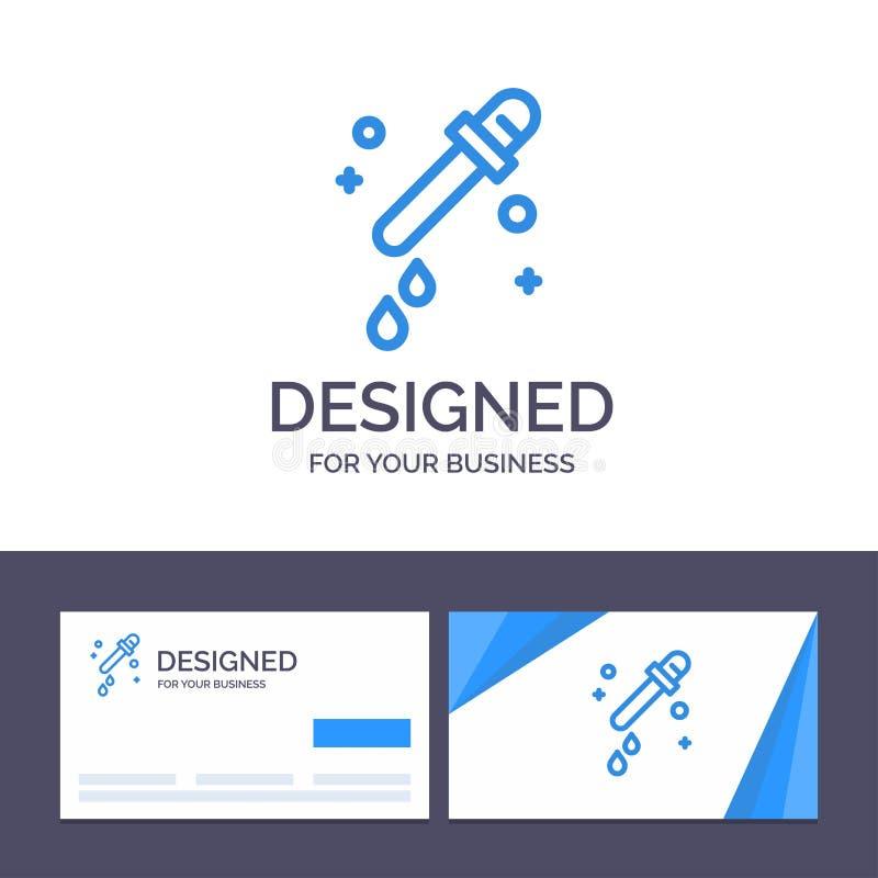 Капельница творческого шаблона визитной карточки и логотипа, пипетка, иллюстрация вектора науки иллюстрация вектора