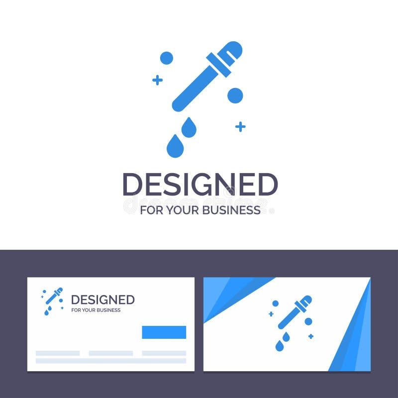 Капельница творческого шаблона визитной карточки и логотипа, пипетка, иллюстрация вектора науки бесплатная иллюстрация