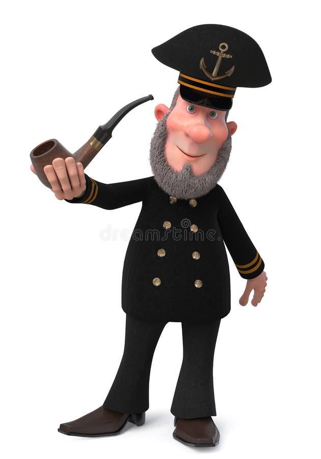 капитан дальнего плавания иллюстрации 3d с куря трубой стоковое изображение