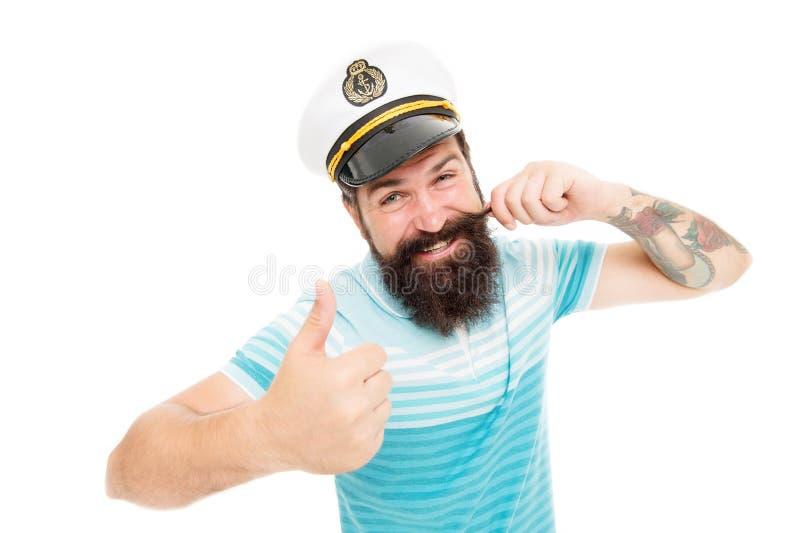 Капитан вкладыша круиза Зверский моряк изолированный на белизне Концепция капитана Добро пожаловать на борту Бородатый капитан че стоковая фотография rf