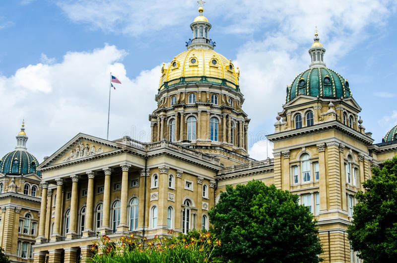 Капитолий положения Des Moines Айовы стоковые изображения rf