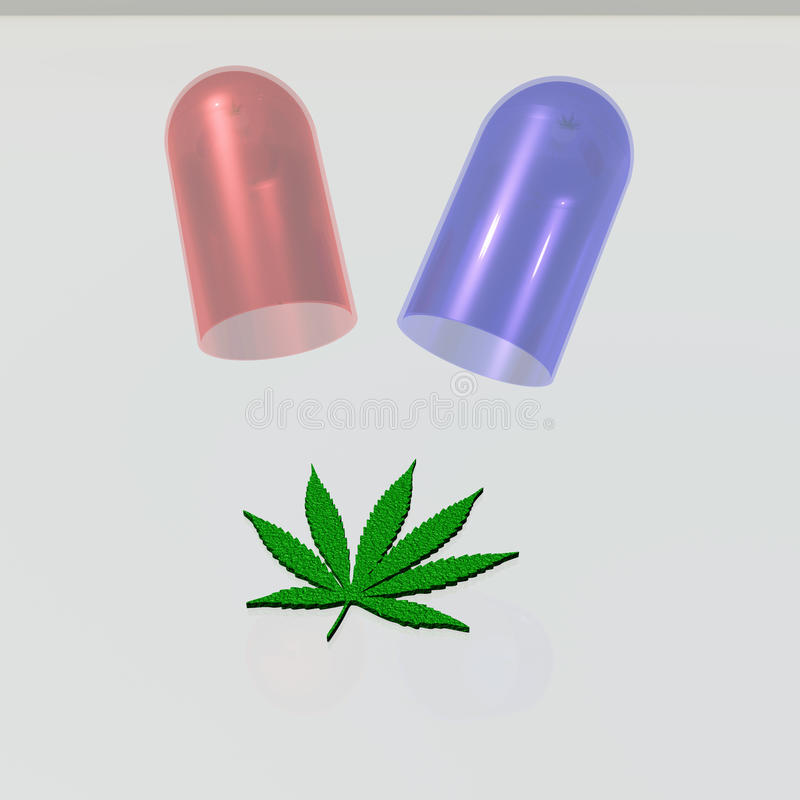 Капсула с лист марихуаны бесплатная иллюстрация