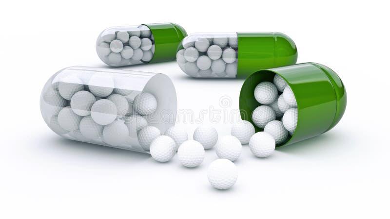 Капсула с шарами для игры в гольф иллюстрация штока