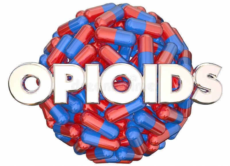 Капсулы пилюлек опасности наркомании отпускаемых по рецепту лекарств Opioids иллюстрация вектора