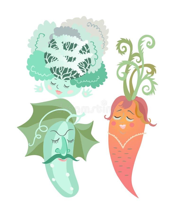 Капуста, морковь и огурец изолированные на белой предпосылке вектор комплекта сердец шаржа приполюсный иллюстрация штока