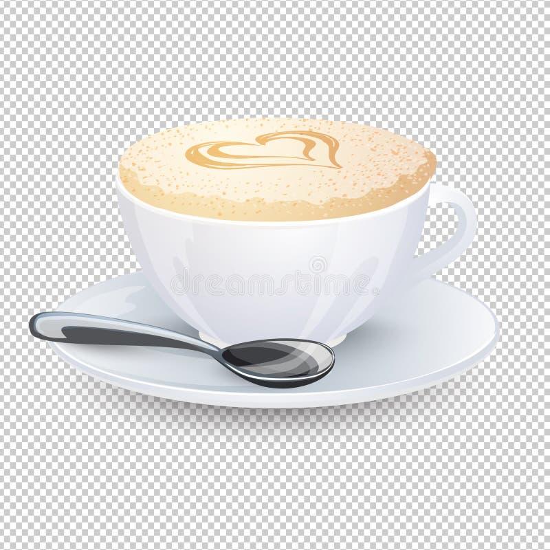 Капучино с сердцем на пене молока Популярное питье кофе в белой чашке при поддонник и ложка изолированные на прозрачной предпосыл иллюстрация штока