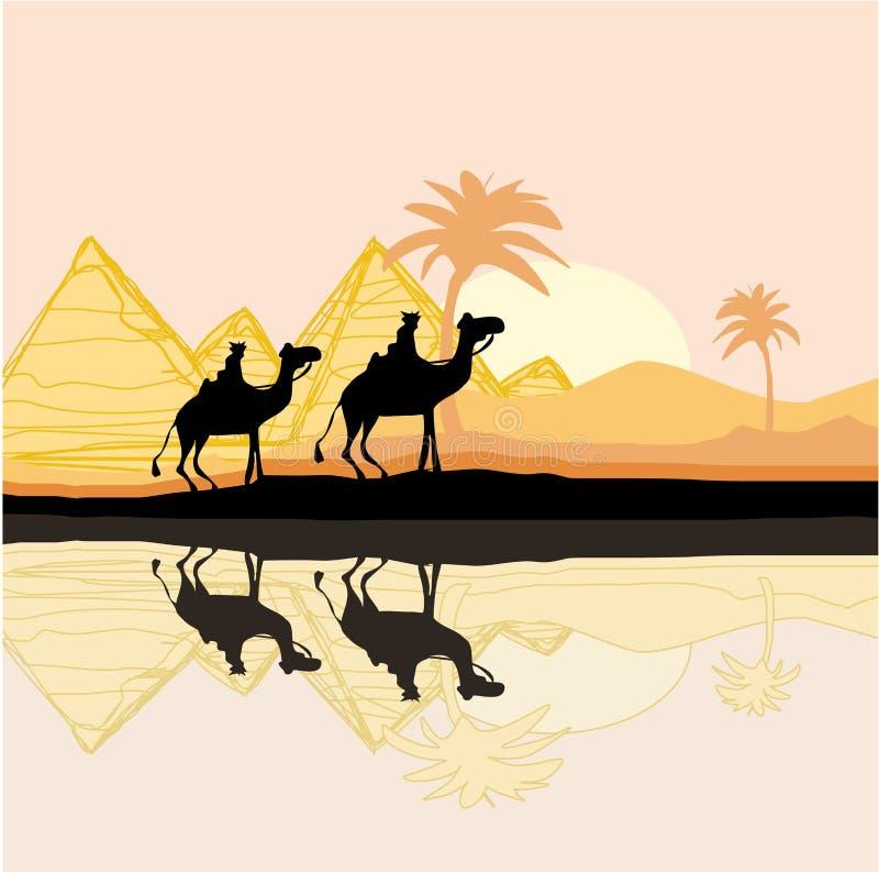 Караван верблюда бедуина иллюстрация вектора