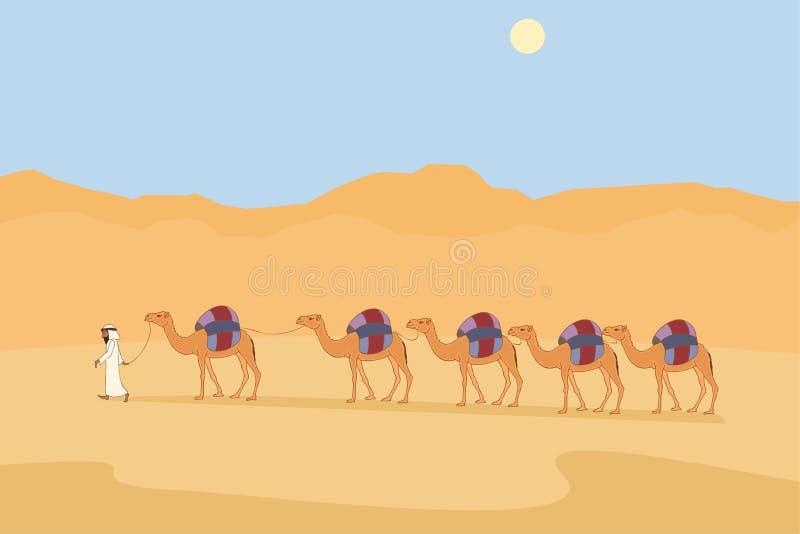 караван верблюда на пустыне иллюстрация вектора
