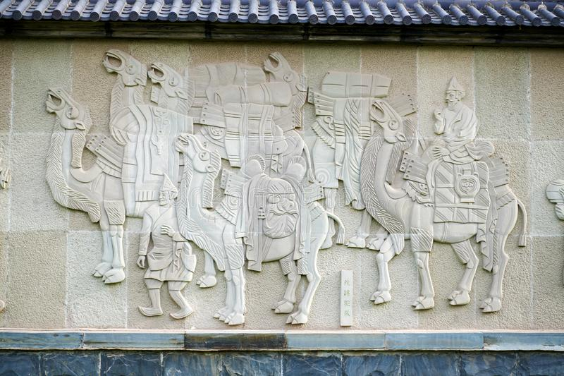 Караван верблюда на шелковом пути стоковое изображение rf