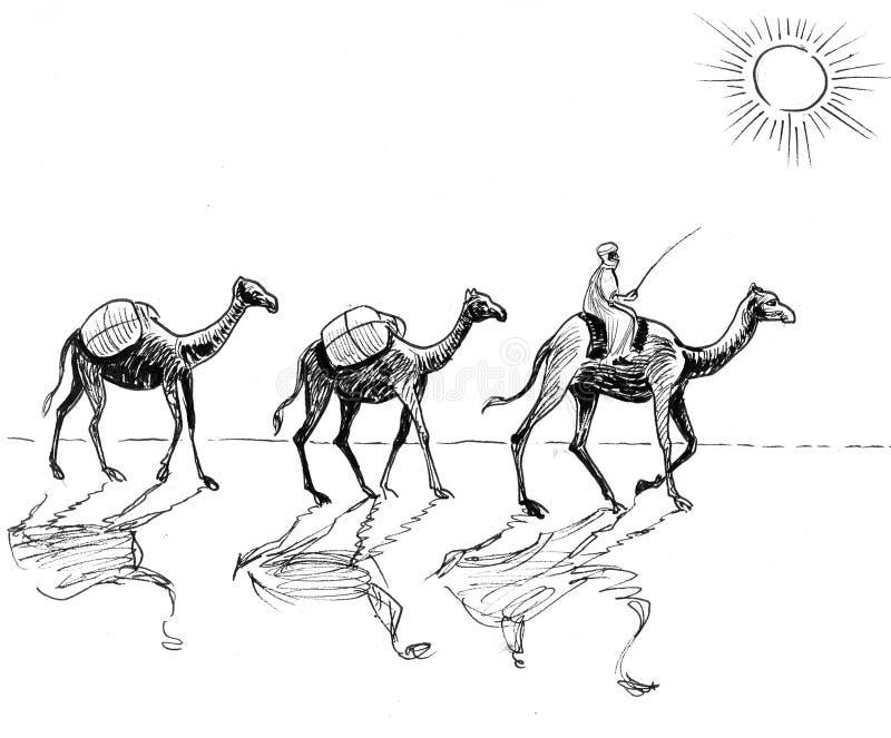 Караван в пустыне бесплатная иллюстрация