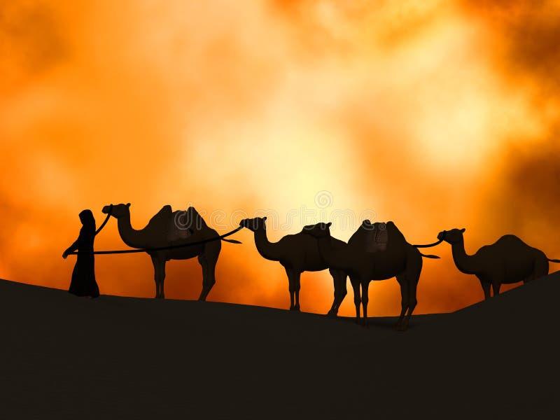 Караван в пустыне иллюстрация штока