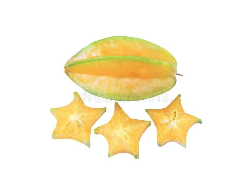 Карамбола плода звезды взгляда сверху вкусная или карамбола averrhoa изолированная на белой предпосылке стоковое фото