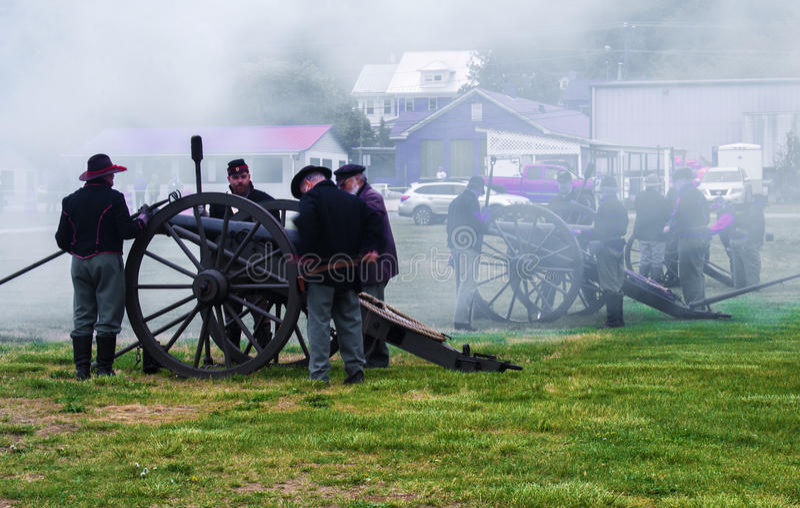 Карамболи гражданской войны увольняя на сражении Buchanan стоковые фото