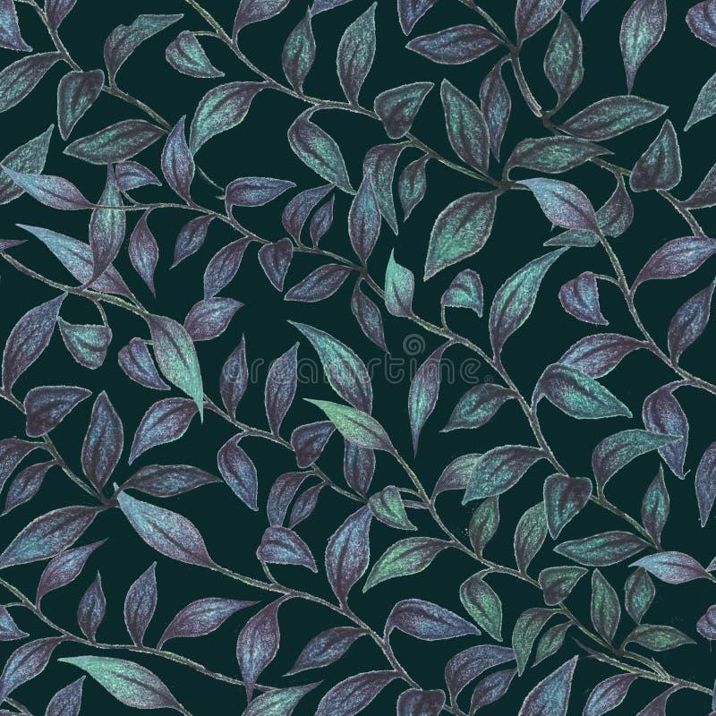 Карандаши акварели флористической безшовной картины вычерченные стоковые изображения rf