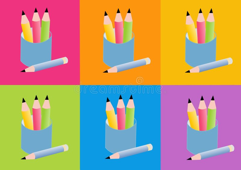карандаши иконы иллюстрация вектора
