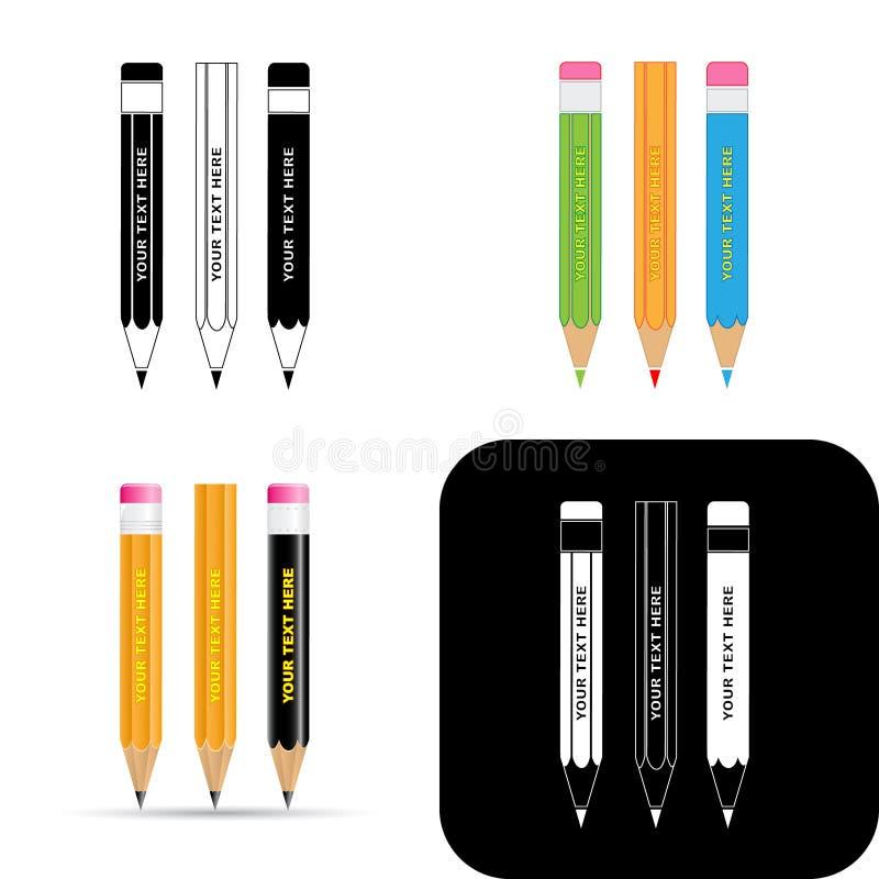 карандаши икон иллюстрация вектора