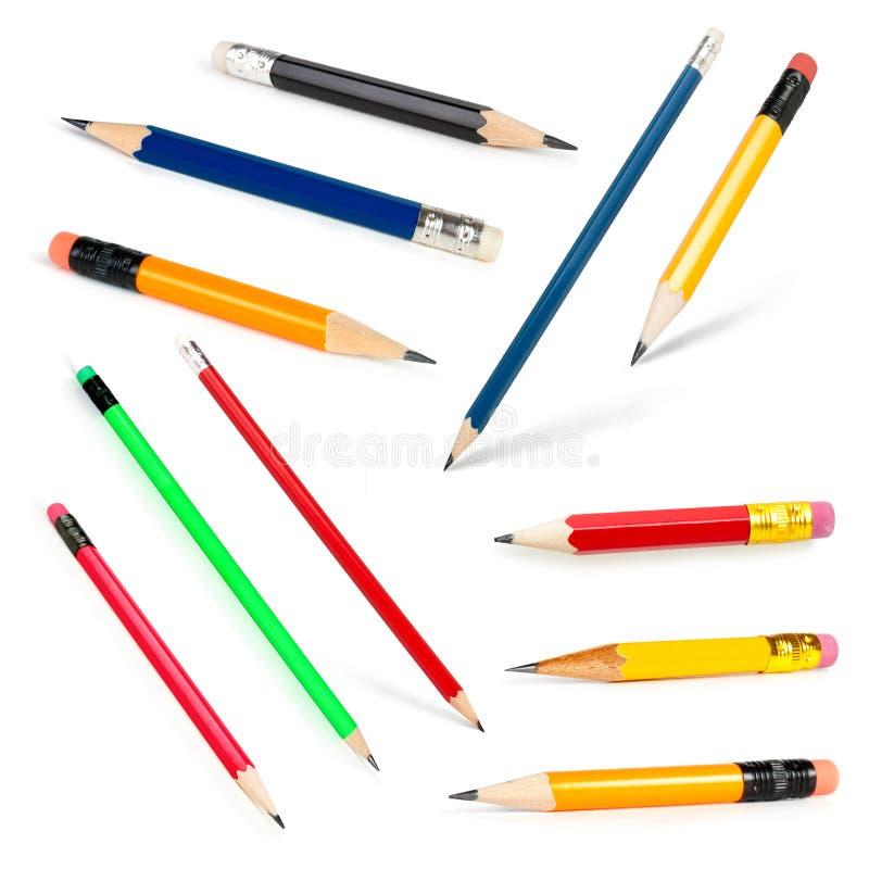 карандаши собрания длинние замыкают накоротко стоковые фотографии rf