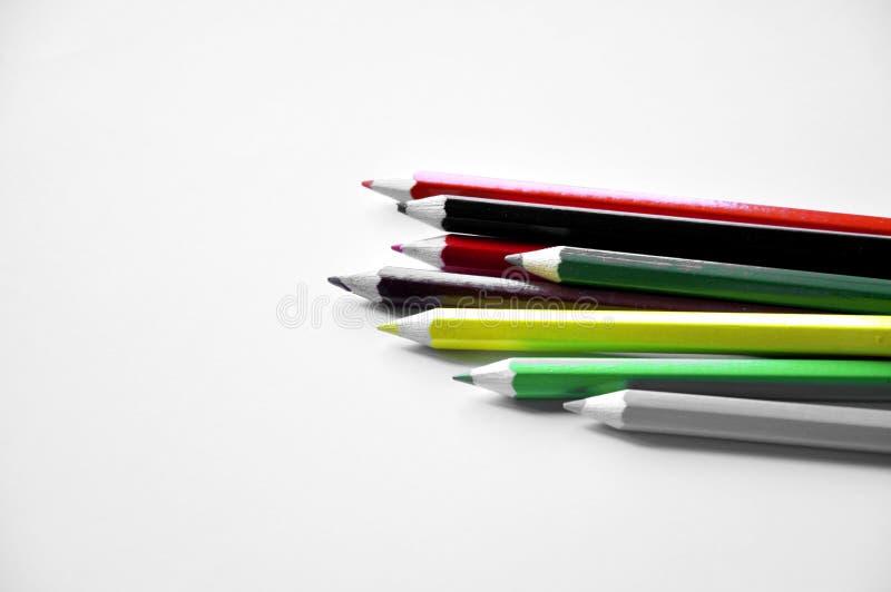 Карандаши цвета изолированные на белой предпосылке стоковое фото rf