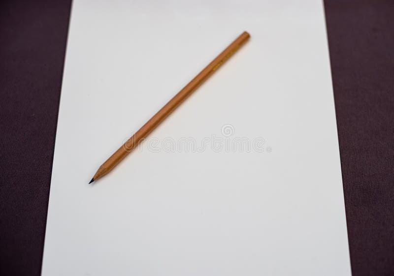 Карандаш Брайна деревянный на белом чистом листе бумаги на таблице стоковое фото