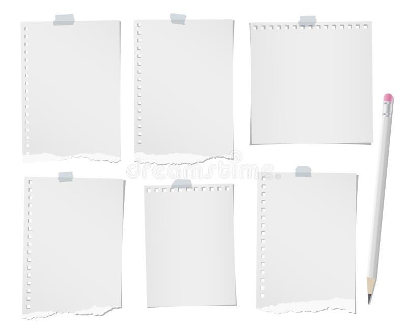 Карандаш и сорванный управляемое, пустое примечание, тетрадь, бумажные листы для текста или сообщение вставил с липкой лентой на  бесплатная иллюстрация