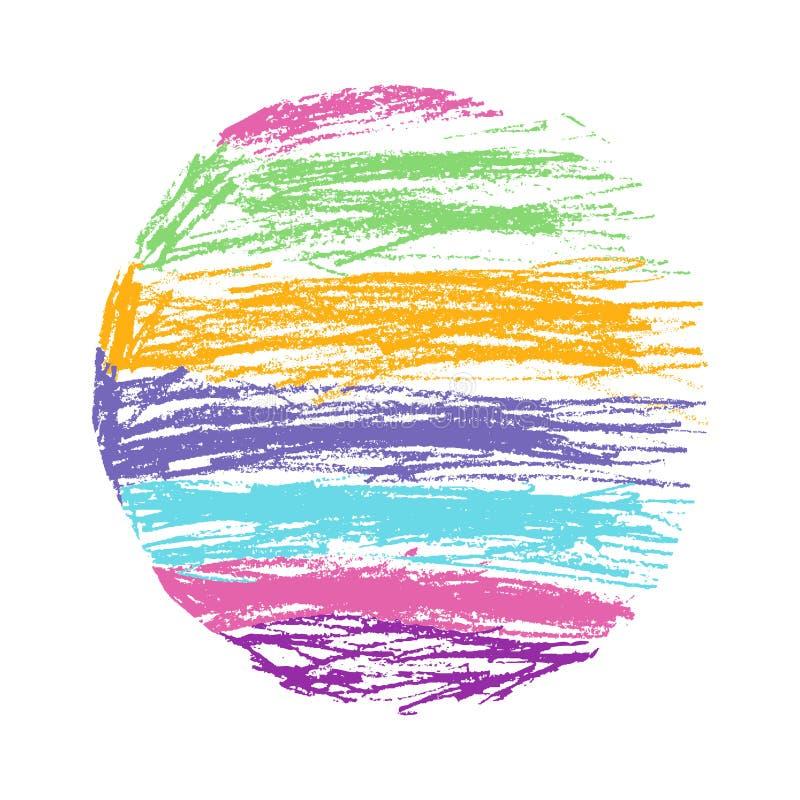 Карандаш и crayon любят круг радуги ` ребенк нарисованный s красочный иллюстрация вектора