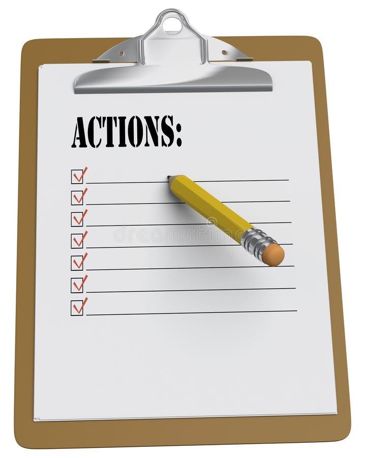карандаш списка clipboard действий stubby иллюстрация вектора