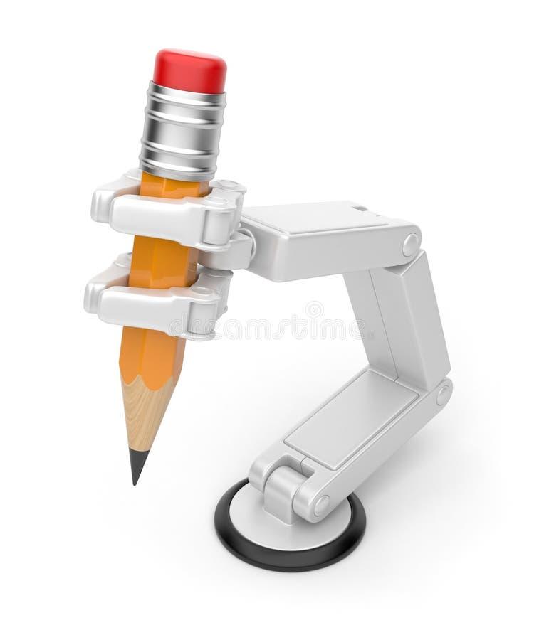 карандаш удерживания руки 3d ai робототехнический иллюстрация вектора