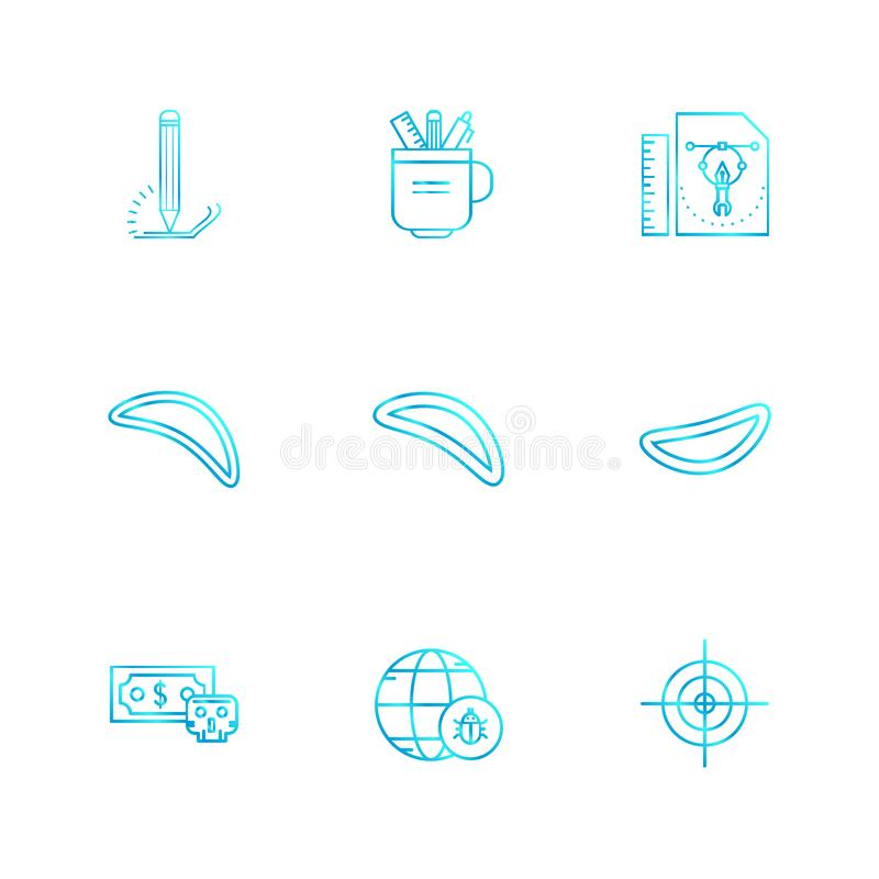 карандаш, чашка, ручка, масштаб, кибер, безопасность, securit интернета иллюстрация штока