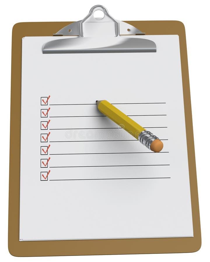 карандаш clipboard контрольного списока stubby иллюстрация вектора