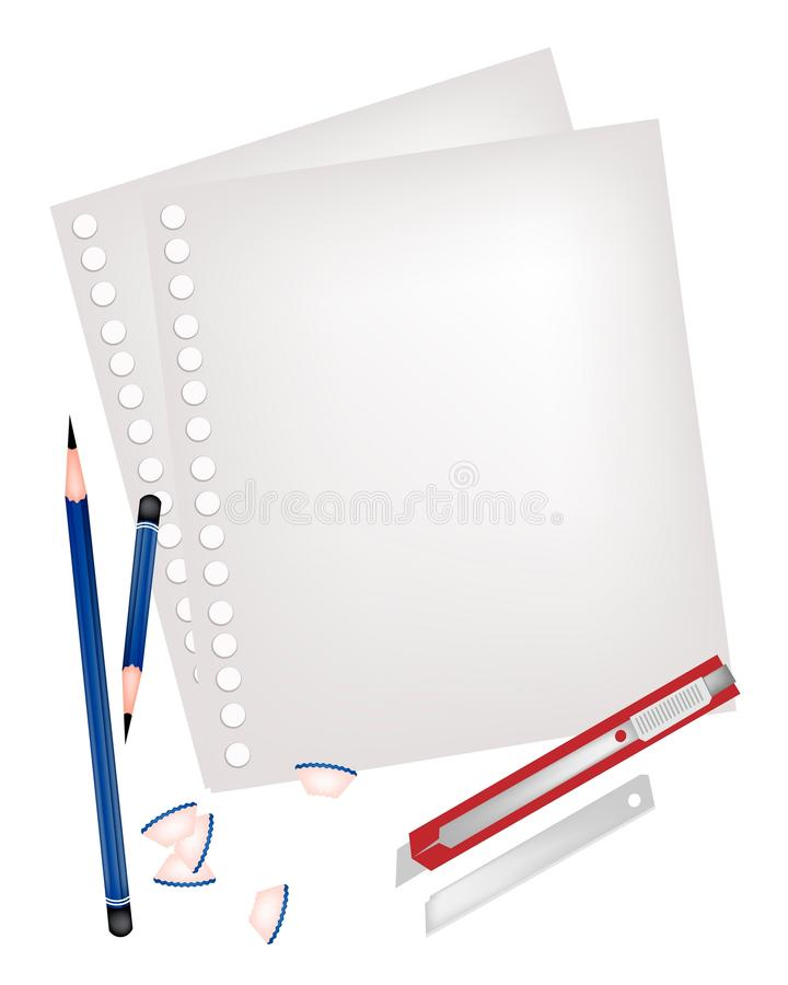 2 карандаши и ножа с пустой страницей иллюстрация штока