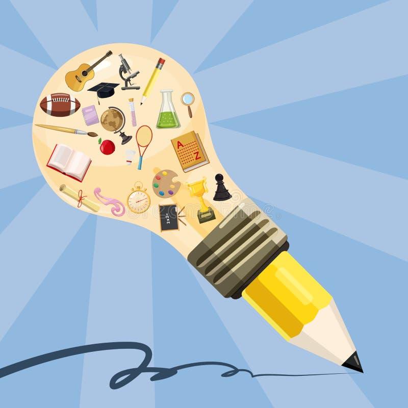 Карандаш лампы концепции образования, стиль шаржа иллюстрация вектора