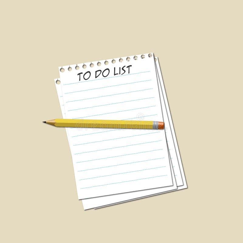 Карандаш и бумага для того чтобы сделать список иллюстрация вектора