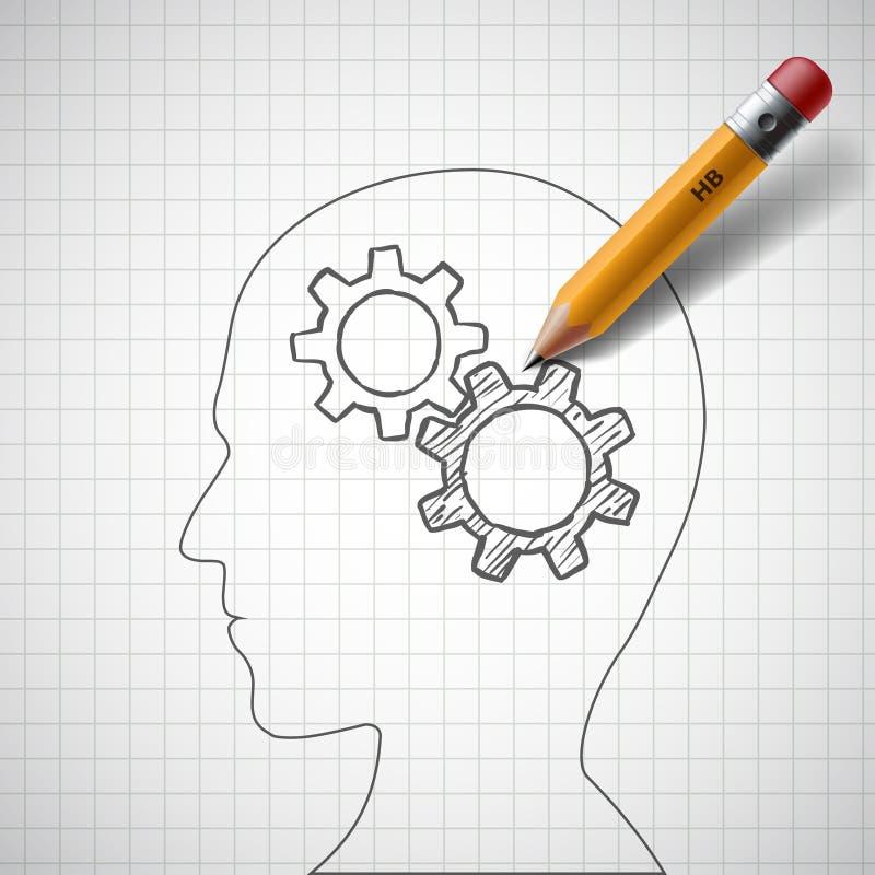 Карандаш рисует шестерни в человеческой голове шток бесплатная иллюстрация
